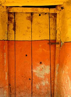 """étape lo mantang, monastère gelup,"" a photo by Ben Oït. (Orange Lemon ‿⭐️⁀Couture I think the title translates roughly to English as ""Step on Montang, Gelup Monastery. Knobs And Knockers, Door Knobs, Old Doors, Windows And Doors, Entry Doors, Front Doors, Wabi Sabi, Orange Door, When One Door Closes"