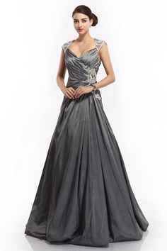 COCOMELODY A Line V Neck Sweep Brush Train Grey Taffeta Evening Dress bmcs0004: Amazon.co.uk: Clothing