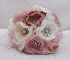 Custom Order: Fabric Flower Wedding Bouquet, with brooches - Sample for Jannine - SOLD. $200.00, via Etsy.