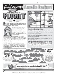 Students will love these fun activities about Amelia Earhart and her achievements in flight.  #AmeliaEarhart #AviationHistory #1stSoloPacificFlight #Jan-11-1935