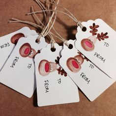 Set of 5 hand painted gift tags christmas by Yourlifeoncanvas, $6.50 #reindeer #christmas #gifttag