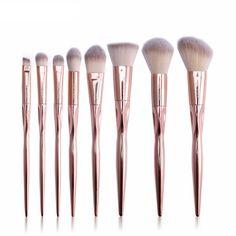 8pcs/lot High Quality Makeup Brushes Set Rose Gold Grasp Handle Blending Brush Set