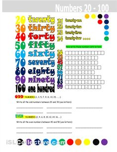 Numbers 20-100 worksheet - Free ESL printable worksheets made by teachers