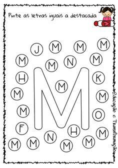 Blog Educação e Transformação: 👍 Alfabeto: pintando as letras Homeschool Preschool Curriculum, Montessori Activities, Alphabet Activities, Preschool Activities, Home Teaching, Pre School, Bingo, Dots, Learning