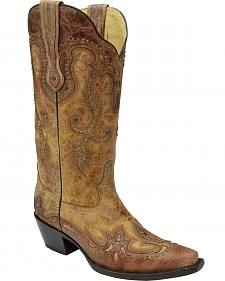 Corral Women's Cognac Antique Saddle Cowgirl Boots - Snip Toe