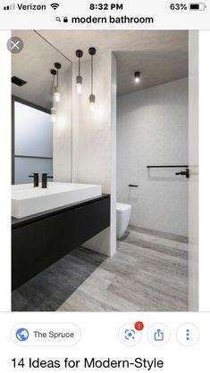 Modern Toilet, Modern Bathroom, Master Bathroom, Bathroom Ideas, Bathroom Toilets, Bathrooms, Toilet Wall, Cool Lighting, Kitchen And Bath