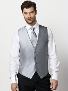 Silver vest for jordan with blue tie