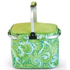 Picnic Plus PSM-148GP Shelby Collapsible Tote in Green Paisley