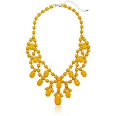 "Amazon.com: Yellow Sprayed Stone Statement Necklace, 18"": Jewelry (€21) ❤ liked on Polyvore featuring jewelry, necklaces, yellow jewelry, stone jewellery, yellow stone jewelry, stone necklace and yellow stone necklace"