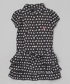 Look at this #zulilyfind! Black Polka Dot Ruffle Dress - Infant, Toddler & Girls #zulilyfinds