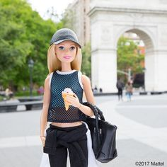Cooling off after a casual stroll downtown. I love to explore the city on foot! #barbie #barbiestyle