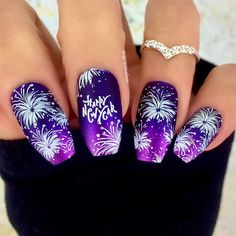 New Year  Nails / Nail Art - Click link below this photo for full description ©-ig: @ldnailsxo - - CZ Ring from Indigolune.com