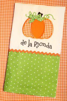 Personalized Fall Pumpkin Kitchen Towel by SweetandSimpleStitch, $20.00