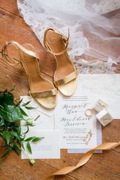 Classy and Traditional Gold and White Wedding Gold wedding heels by Tory Burch Gold Wedding Shoes, White Wedding Cakes, Black Tie Wedding, Wedding Film, Mod Wedding, Wedding Photos, Wedding Day, Summer Wedding, Wedding Stuff