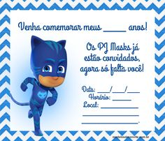 42 Convites PJ Masks com o Menino Gato, Lagartixo e Corujita! – Modelos de Convite Festa Pj Masks, Hi Gorgeous, African Dresses For Kids, Mask Party, Boy Birthday Parties, Smurfs, Invitations, Humor, David