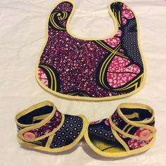 Ankara Baby Bib & Booties set  FREE SHIPPING by SaloneStarr, $15.00