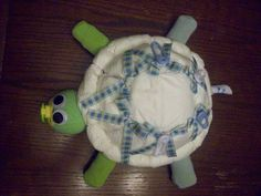 Turtle Diaper Cake! So Cute and Great Fast Gift! This is my design, but I have seen these online sell for a lot of money