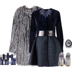 A fashion look from January 2015 featuring blue dress, grey fur coat and high heel shoes. Browse and shop related looks.