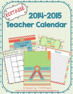 Editable teacher calendar in a cute chevron and polka dot design. This calendar has Canadian holidays on it only. The bright colours of this are sure to brighten up your work day. Each month opens on two pages in order to have bigger boxes for Teacher Notebook, Teacher Binder, Teacher Stuff, Teacher Planner, Organized Teacher, Teacher Supplies, Classroom Organization, Classroom Management, Classroom Ideas