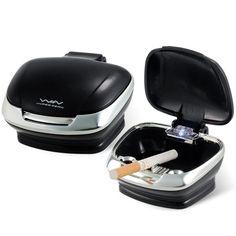 ファッショナブルなシェル形状ledブルーライト内部車灰皿で取り外し可能なベースと両面テープ