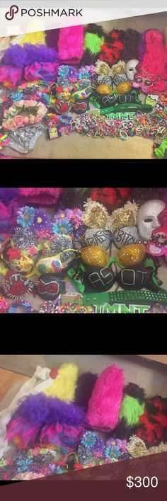 """Rave and halloween accessories!!! ❤️ My Rave days are long gone and now it's time to sell some amazing top quality and hand made items!!  8 pair of """"fluffies"""" (2 pairs of pink) Hello Kitty rave hat 2 wigs 8 hand made bras (B cup), 3 of them light up with LEDs 2 tutus 2 flower crowns 2 flower belts 5 pairs of leg wraps Silver sequin shorts Hand made """"kandi"""" you won't find anywhere else.. including a gas mask Hello kitty Swarovski glasses Back and bag Misc other things such as masks…"""