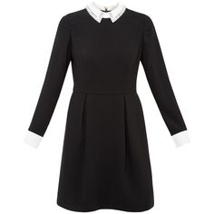 Ted Baker Timu Embellished Collared Dress, Black featuring polyvore women's fashion clothing dresses long sleeve mini dress long sleeve knee length dresses midi dress maxi dresses long sleeve floor length dress
