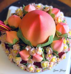 Happy Birthday Wishes For A Friend, Peach Cake, Creative Cakes, Amazing Cakes, Cake Decorating, Food And Drink, Birthday Cake, Cookies, Breakfast