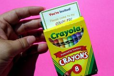 Raibow party invite slides into crayon box- or a really good favor and thank you note.