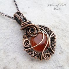 Small Red Carnelian copper woven wire wrapped pendant necklace