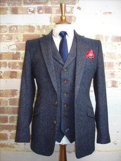 Bespoke 3 Piece Wedding Suit in Blue Herringbone Donegal Tweed