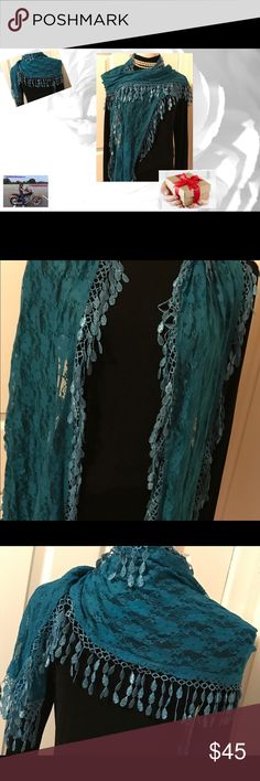 "TURQUOISE FRINGED LACE SCARF This color is the universal color that compliments all skin tone and hair color! Fun and funky versatile scarf for gifting or keeping! Measurements: 80@ X 12"". Any questions please ask! 🚫Trades! Offers welcome and remember to bundle for additional savings! Tx for browsing! Marian🌹 Accessories Scarves & Wraps"