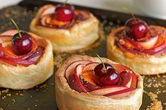 Nectarine, Almond and Cream Tarts. Great British Bake Off/Baking Show.