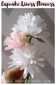 Flowers out of cupcake liner- very easy and affordable DIY- use for centrepieces and decor