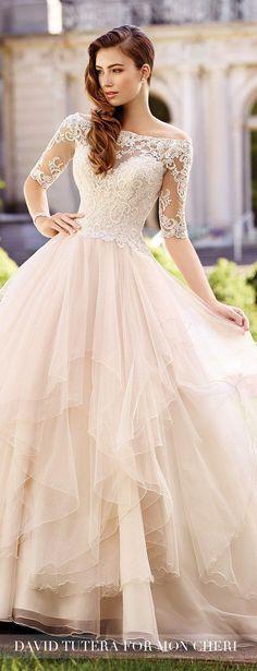 Lace Sleeves Wedding Dress - David Tutera for Mon Cheri Bridals 2017
