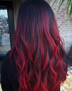 Dark to Bright Red Ombre Hair Look