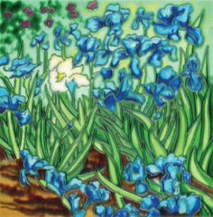 Post-Impressionist Irises by Van Gogh 1889 8x8x0.25 inches Ceramic Hand Painted Tile by Artsy Tiles. $23.99. This ceramic art hand painted tile will be a lovely decoration for any room: business office, dining room, kitchen, bathroom, children's room, living room, museum, and gallery. Each tile comes with a black felt-like material backing with a wall hook so you can immediately hang on the wall. It can also be used as an actual ceramic tile by easily removing th...
