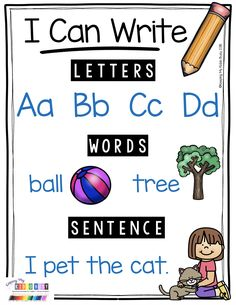 WRITING ANCHOR CHART - adorable poster showing students the difference between letters, words and sentences - perfect for a first grade or kindergarten writing center - narrative writing unit with FREEBIES Narrative Writing Kindergarten, Kindergarten Posters, Narrative Writing Prompts, Personal Narrative Writing, Kindergarten Anchor Charts, Writing Curriculum, Writing Anchor Charts, 1st Grade Writing, Kindergarten Lesson Plans
