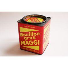 Vintage French Tin Box, Large Advertising MAGGI Metal Box, Retro... (€32) ❤ liked on Polyvore featuring home, home decor, small item storage, metal box, metal tin box, metal container, metal tin container and tin box