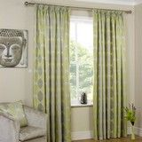 Leaf Lined Tape Curtains In Lime With Matching Accessories