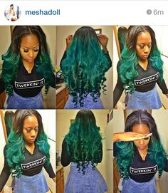 Green sew in Colored Weave Hairstyles, Messy Hairstyles, Hollywood Hairstyles, Love Hair, Gorgeous Hair, Black Girl Weave, Sew In Wig, Curly Hair Styles, Natural Hair Styles