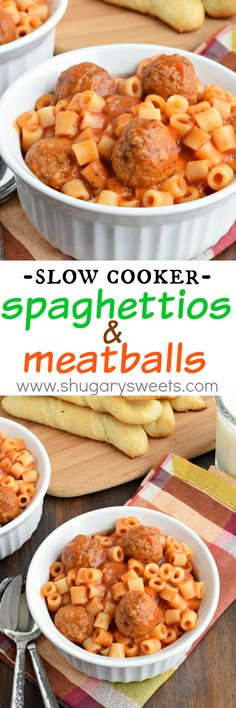Easy, Homemade Spaghettios and Meatballs made in the slow cooker. This crockpot recipe is delicious enough for kids AND adults!