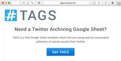 """Screen shot of """"TAGS"""" home page. Google forms that track hashtags."""