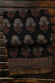 Black with Indigo Ajrak Silk Cotton Saree