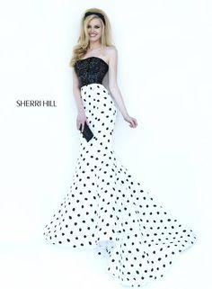 dc29aa366f1 Black + white polka dot evening gown