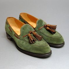 Hubert Green Suede & Mahogany Tassel Loafers by Cheaney