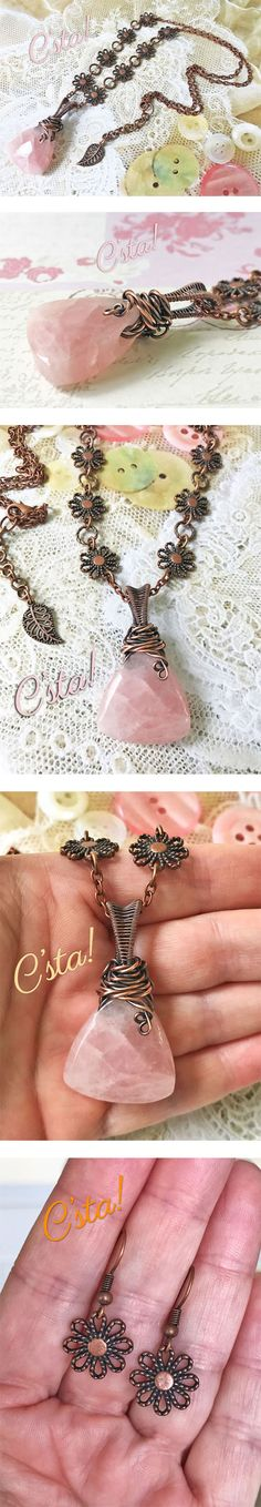 Rose Quartz Necklace with Earrings in Antiqued Copper
