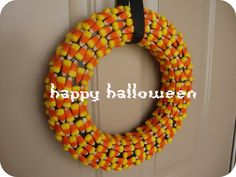 candy wreath | Here to Make You Hungry: Candy Corn Wreath