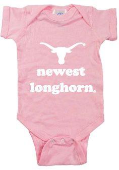 "Texas Longhorns Infant Romper- Pink ""Newest Longhorn"" Creeper"