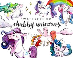 Watercolor Chubby Unicorns Clipart Set - INSTANT DOWNLOAD - High Res, PNG, Printable and Cute! For stationery, birthdays and baby showers by AntlerAndTwine on Etsy https://www.etsy.com/au/listing/293165923/watercolor-chubby-unicorns-clipart-set