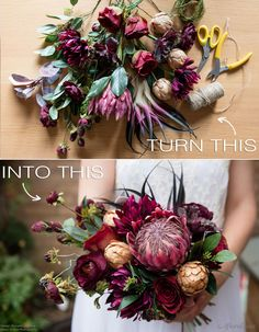 A burgundy bouquet that features a King Protea and succulents is everything this year. Follow this simple DIY by Pumpkin and Pye and make your own faux flower bridal bouquet.